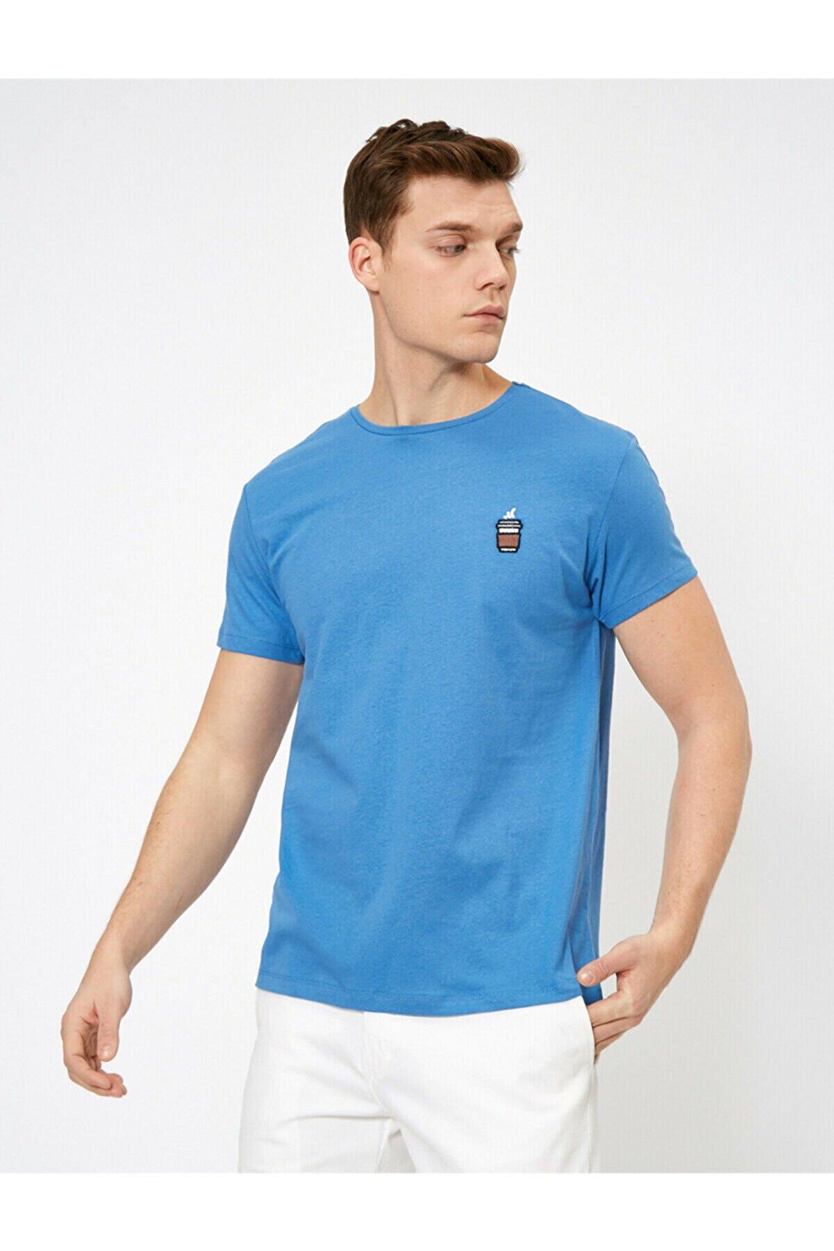 Koton Erkek Mavi Bisiklet Yaka T-shirt