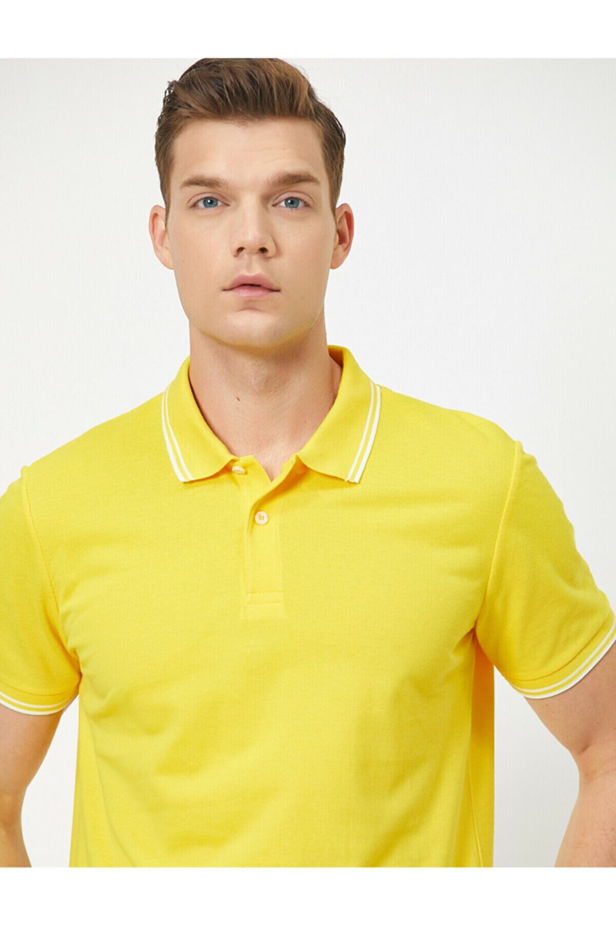Koton Erkek Sarı Polo Yaka T-Shirt