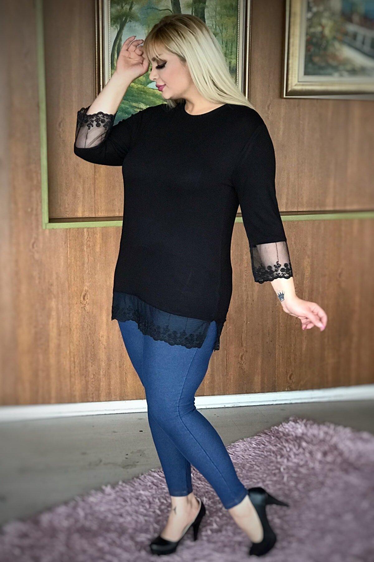 LİKRA Kadın Siyah Büyük Beden Kolları Eteği Tüllü Lı Viskon Bluz