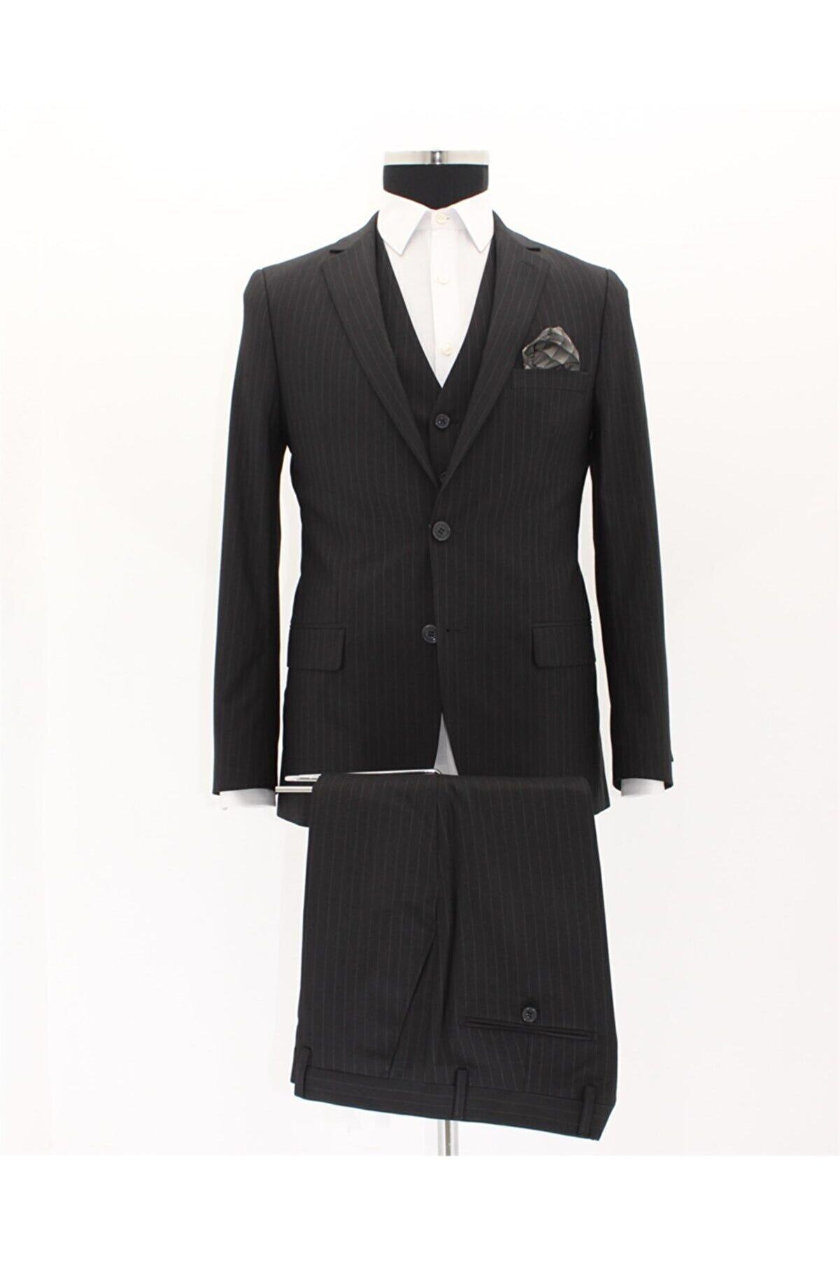 İmza Erkek Siyah Slim Fit Takım Elbise