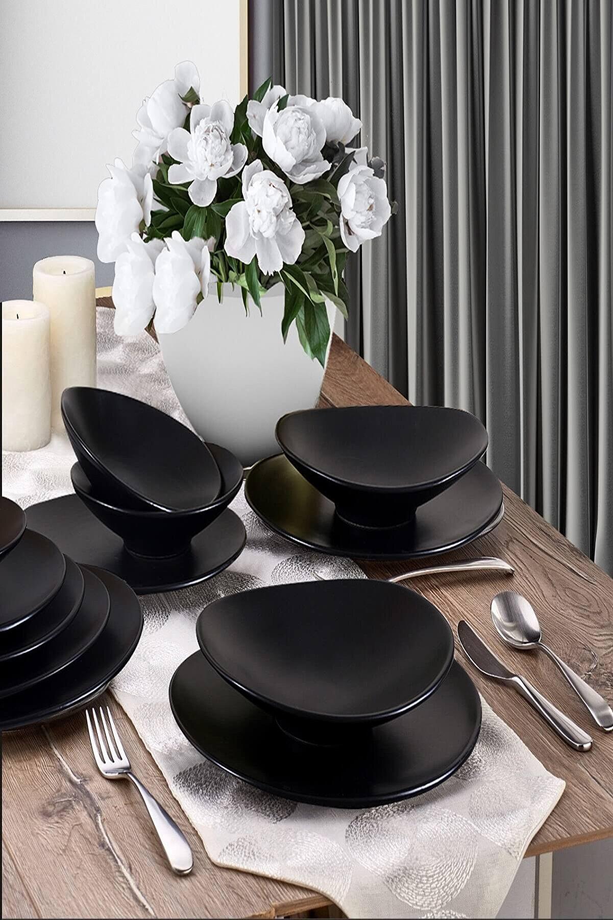 Keramika Oval Mat Siyah Yemek Takımı 24 Parça 6 Kişilik