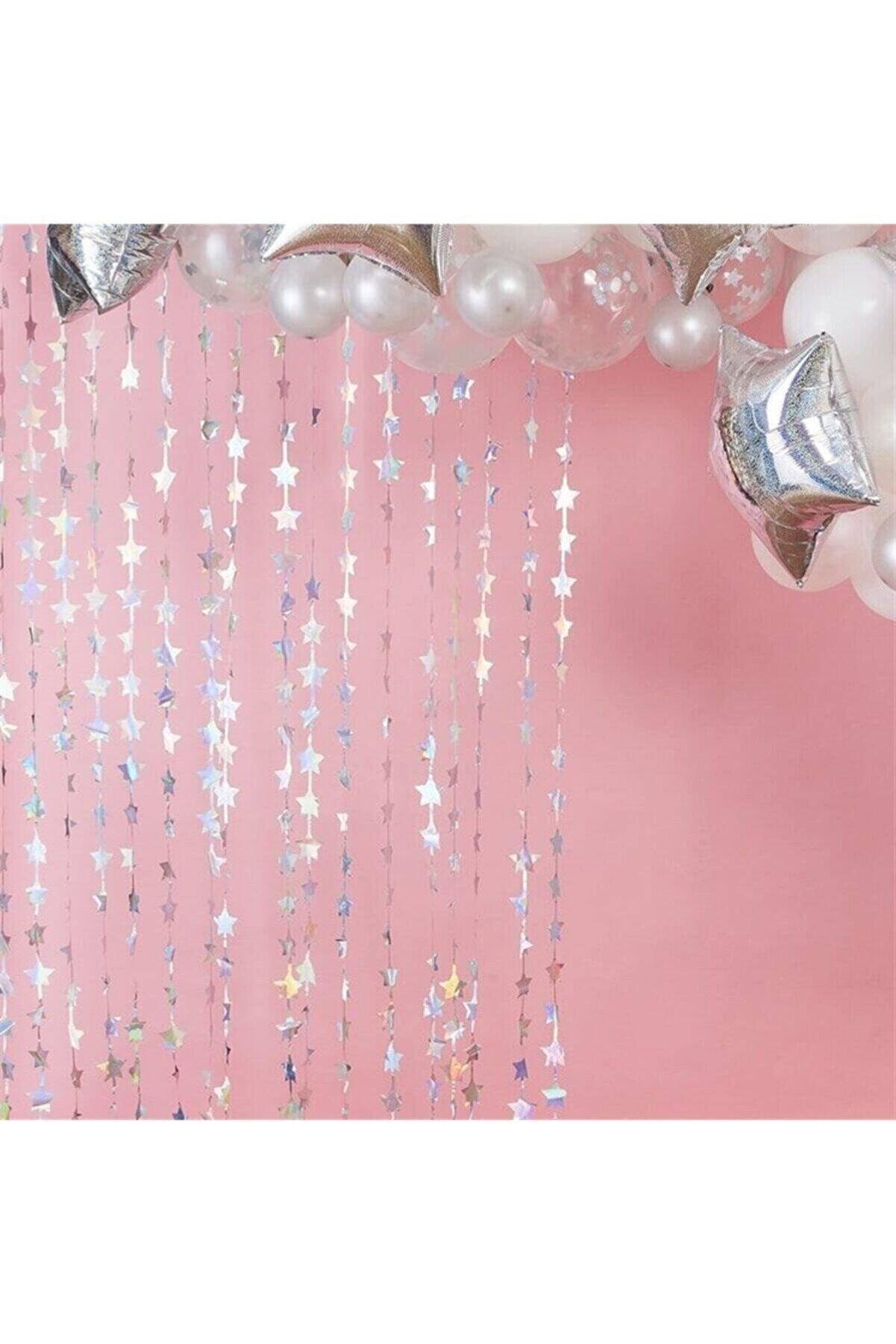 Huzur Party Store Işıltılı Yıldızlı Gümüş Arka Fon Kendinden Yapışkanlı Silver Kapı Perdesi Metalik Gri Duvar Süsü