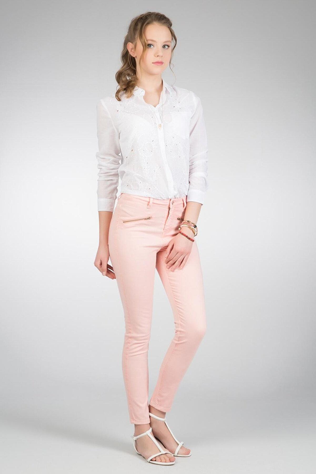 Colin's KADIN Slim Fit Orta Bel Skinny Leg Kadın Pembe Pantolon CL1020337
