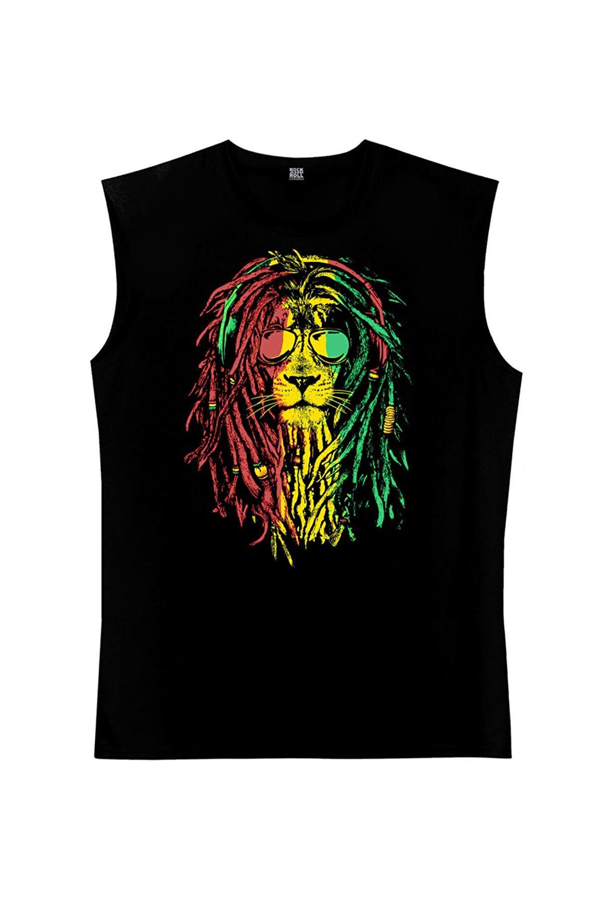 Rock & Roll Rasta Reggae Aslan Siyah Kesik Kol | Kolsuz Erkek T-shirt | Atlet 1M1SM104FS