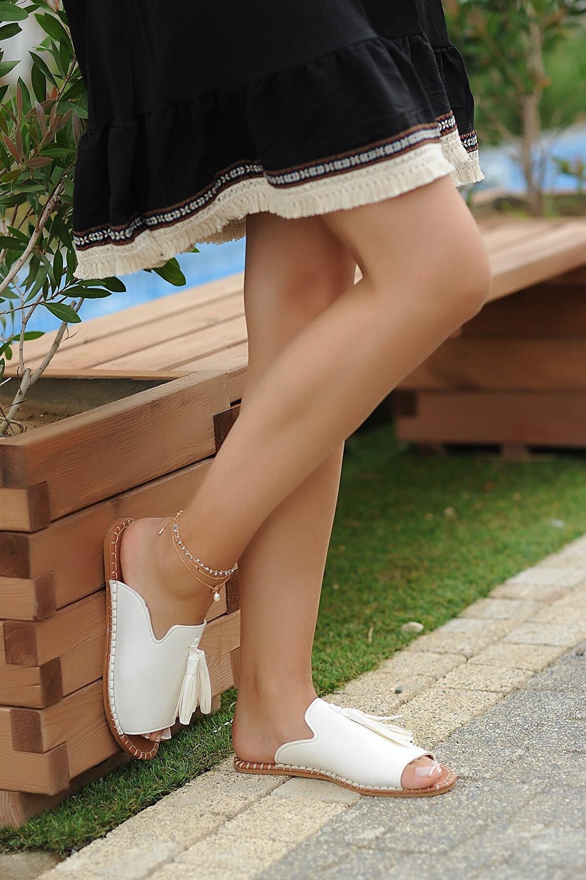 Pembe Potin Beyaz Kadın Terlik A888-19