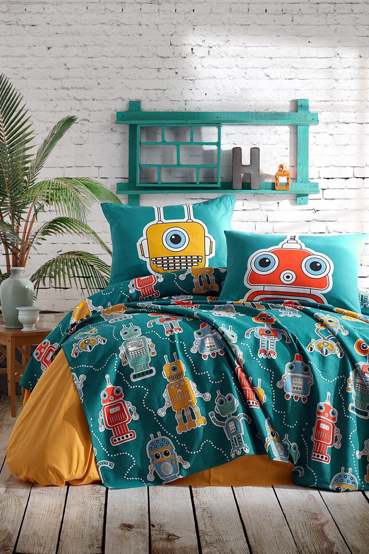Enlora Home %100 Doğal Pamuk Tek Kişilik Pike Takımı Robotte Yeşil