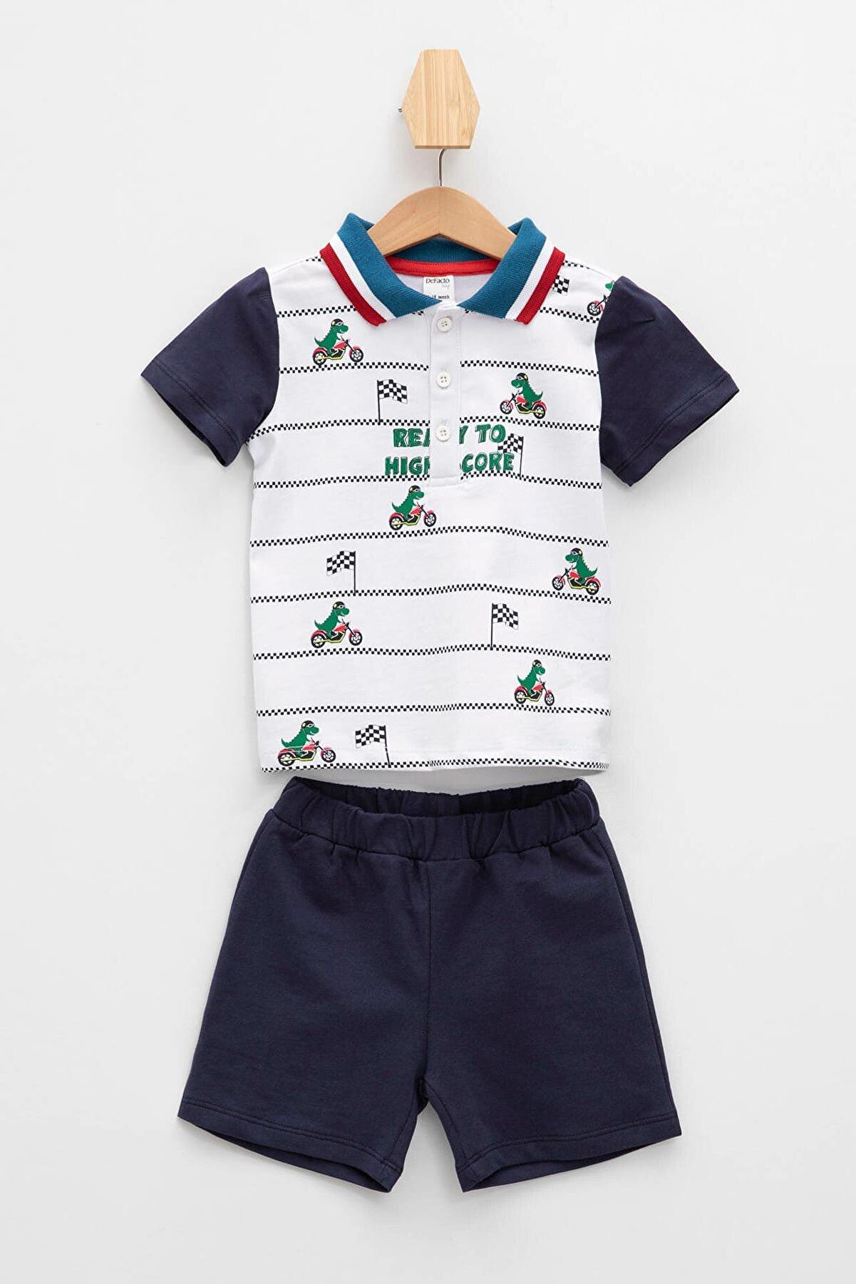 Defacto Erkek Bebek Baskılı Kısa Kollu Polo Tişört Ve Şort Takımı
