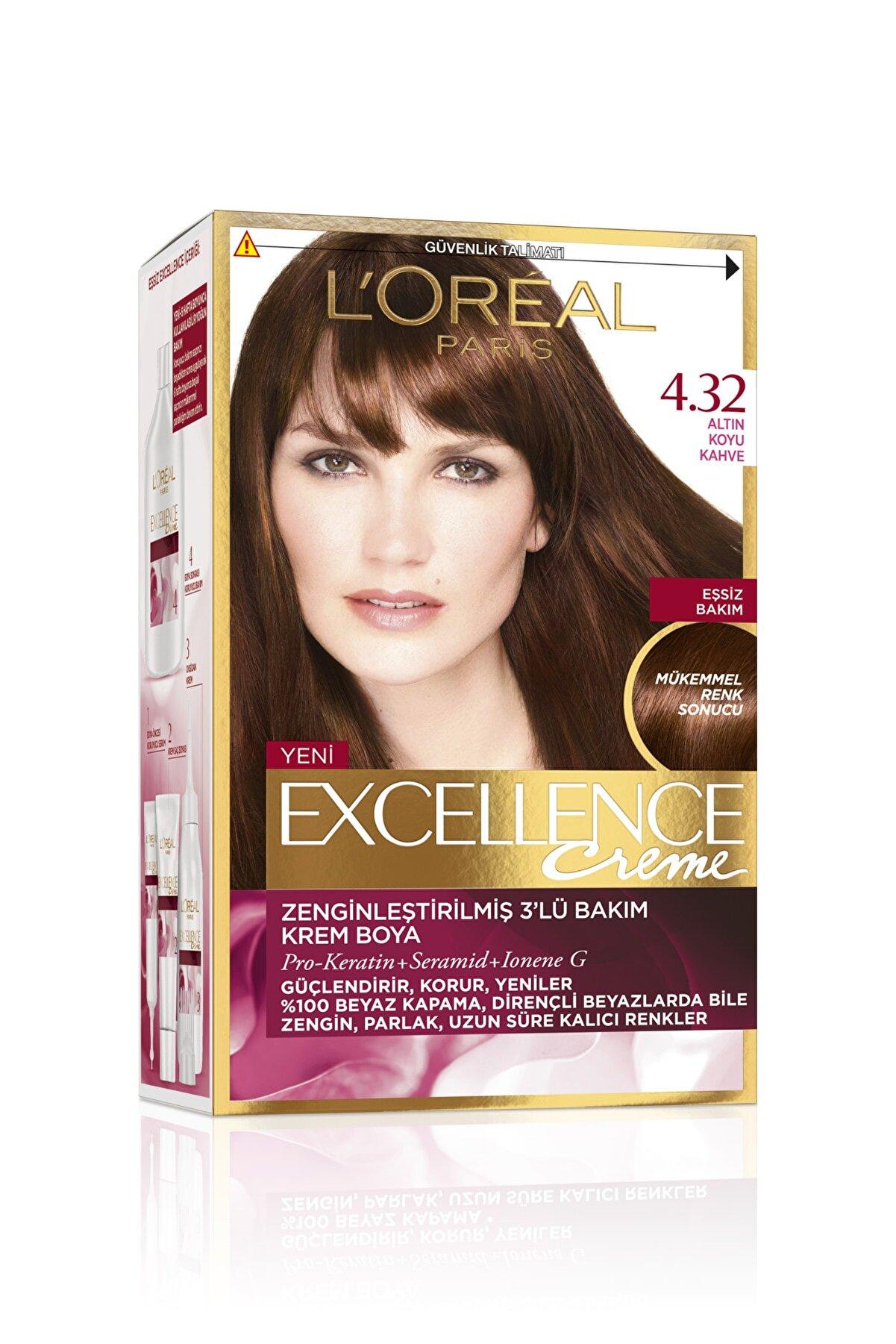 L'Oreal Paris Saç Boyası - Excellence Creme 4.32 Altın Koyu Kahve 3600522378037