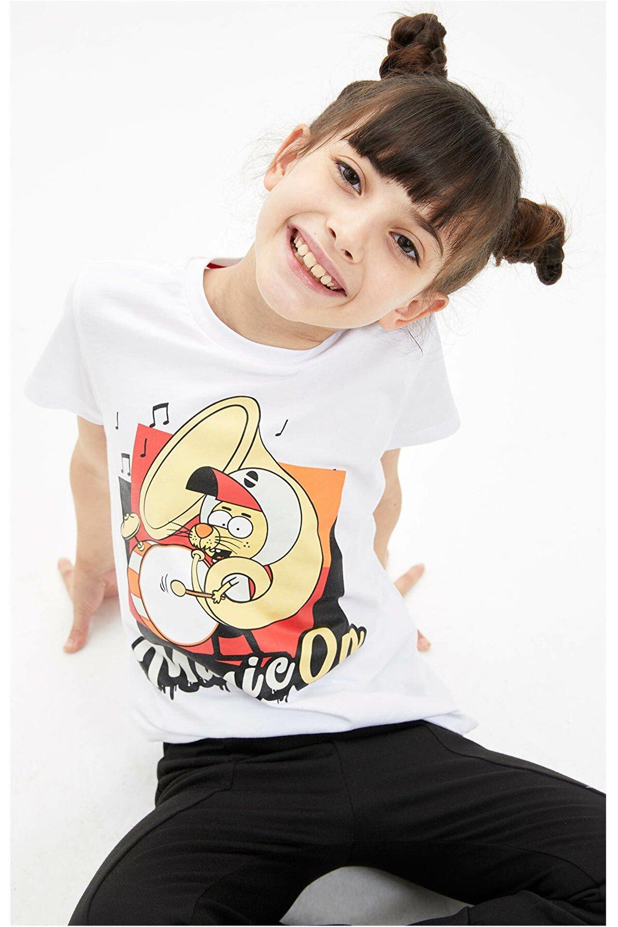 Defacto Kız Çocuk Kral Şakir Lisanslı Kısa Kollu Tişört