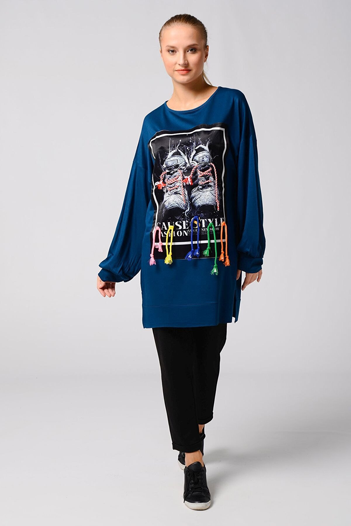 Nefise Kadın Ayakkabı Aplike Detaylı Sweatshirt İndigo 101041191945