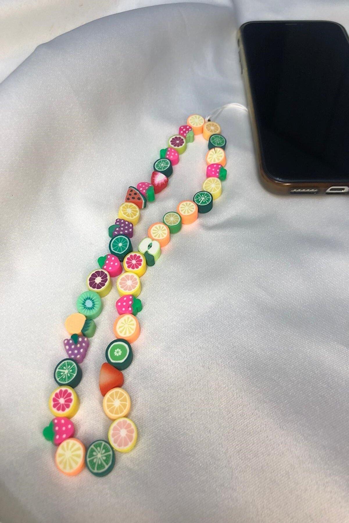 İsabella Accessories Renkli Boncuklu Telefon Askısı, Telefon Aksesuarı Karışık Meyveler Telefon Askısı - Phone Charms