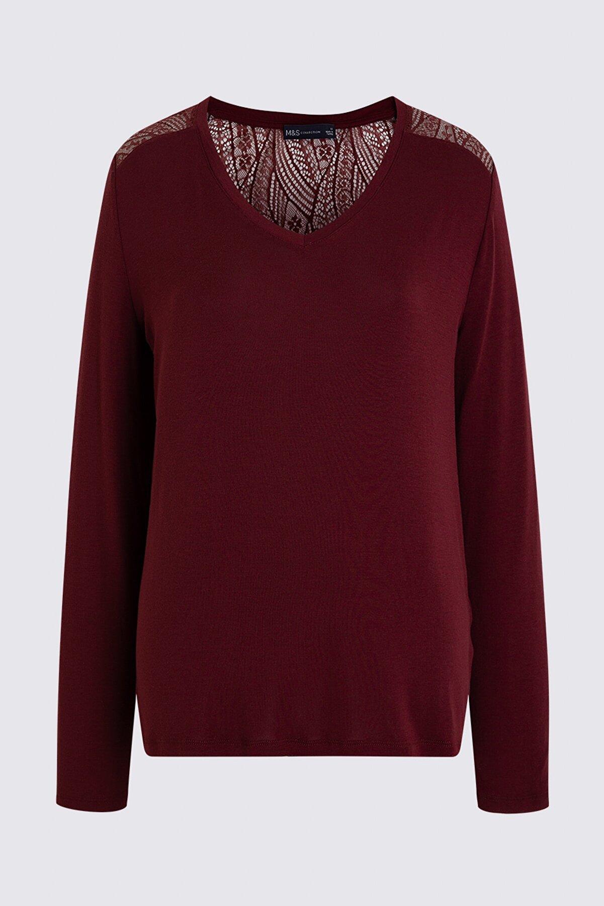 Marks & Spencer Kadın Mor Uzun Kollu T-Shirt T41006100X