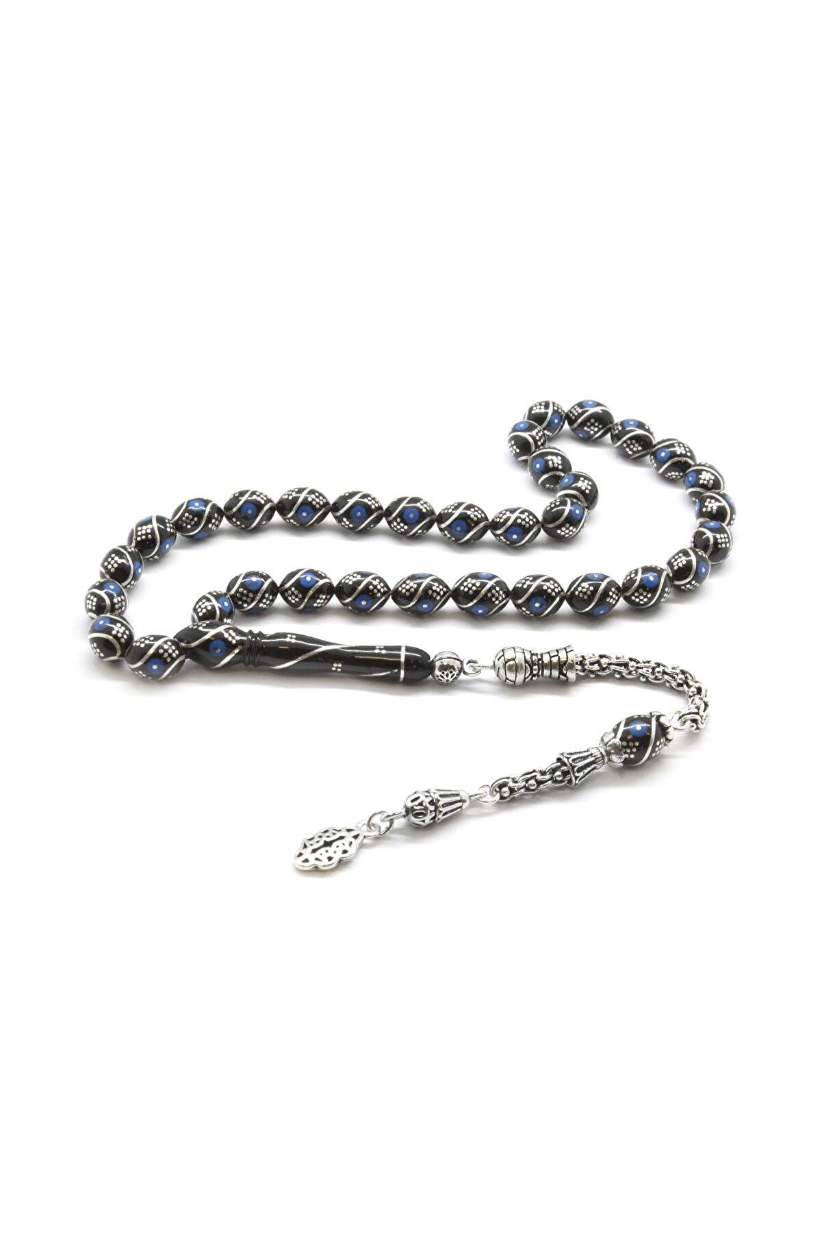 Tesbihane 925 Ayar Gümüş Arnavut Püsküllü Gümüş-Firuze İşlemeli Arpa Kesim Erzurum Oltu Taşı Tesbih 101001828