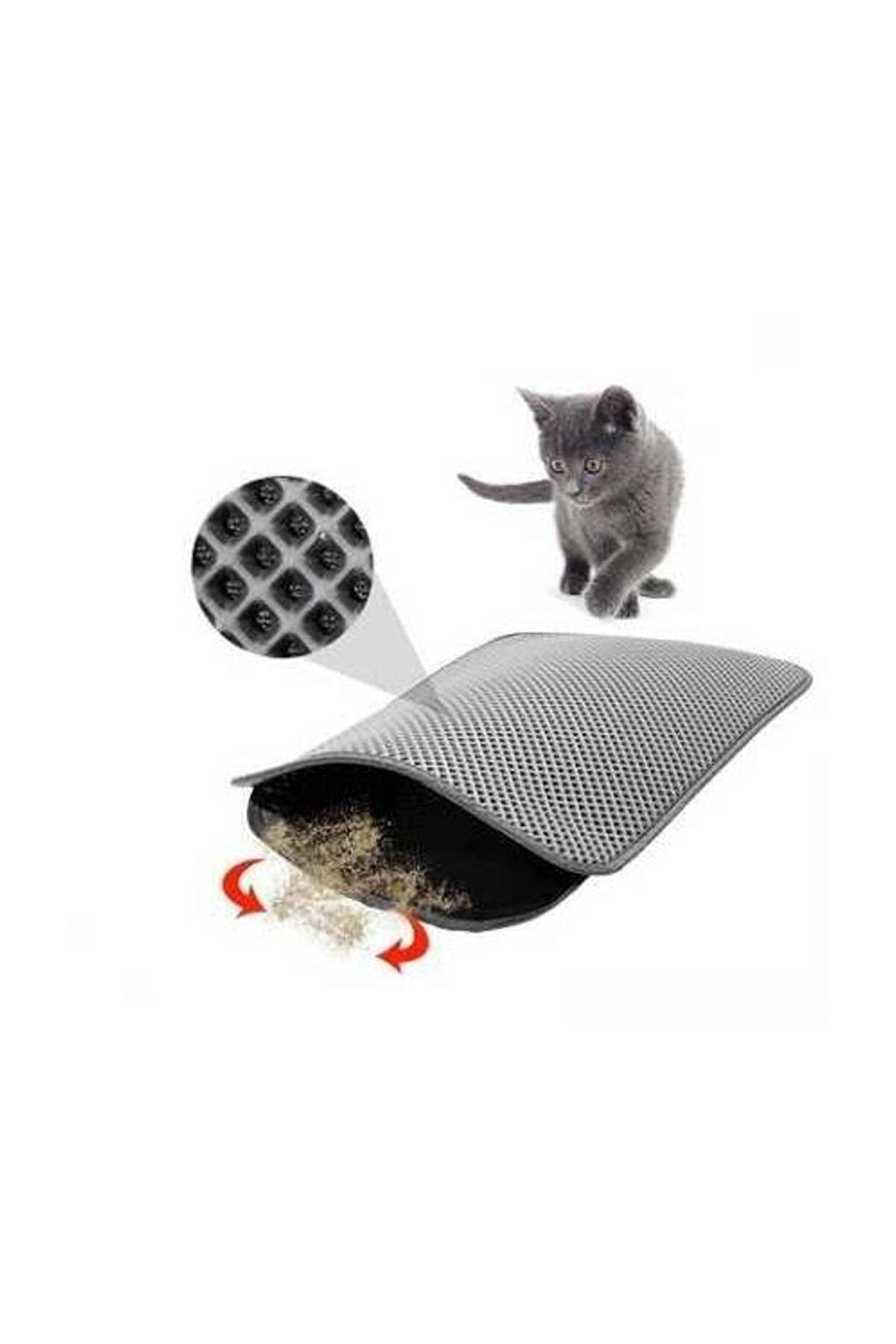 Miapet Elekli Kedi Tuvalet Önü Paspası 60 x 45 cm Gri