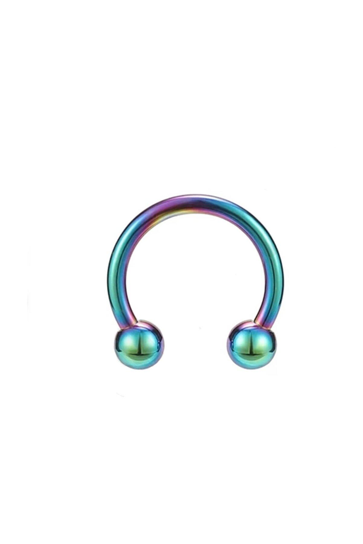 Cadının Dükkanı Cerrahi Çelik Gökkuşağı Rengi Kulak-dudak-burun Piercing (iç Çap 12 Mm)
