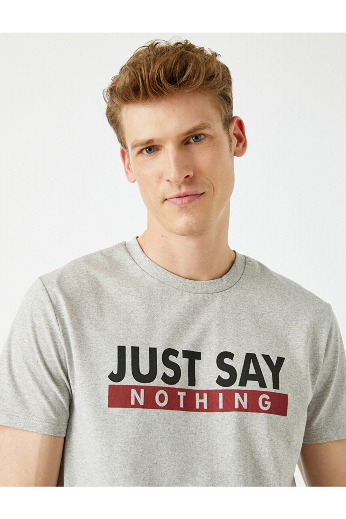 Koton Erkek Sloganlı Bisiklet Yaka Gri T-Shirt