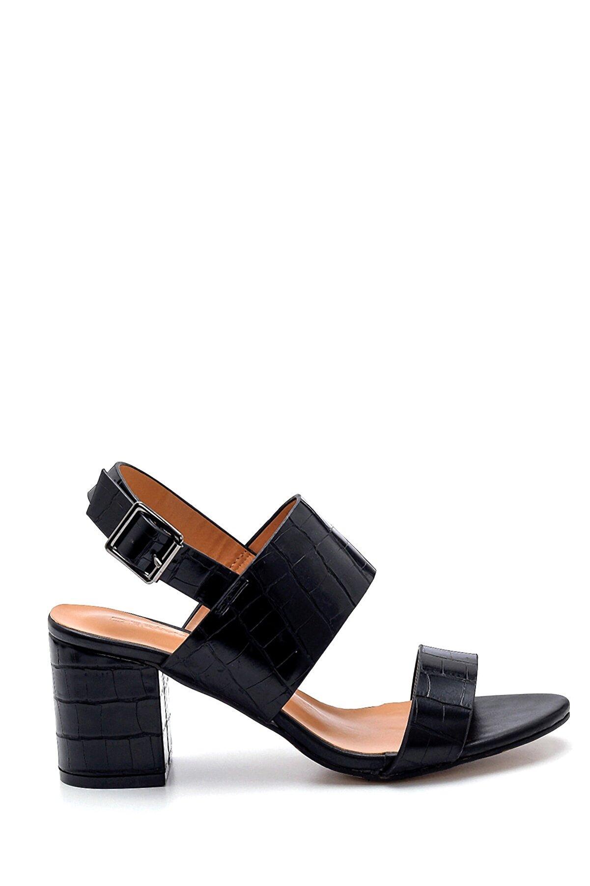 Derimod Kadın Siyah Kroko Desenli Sandalet