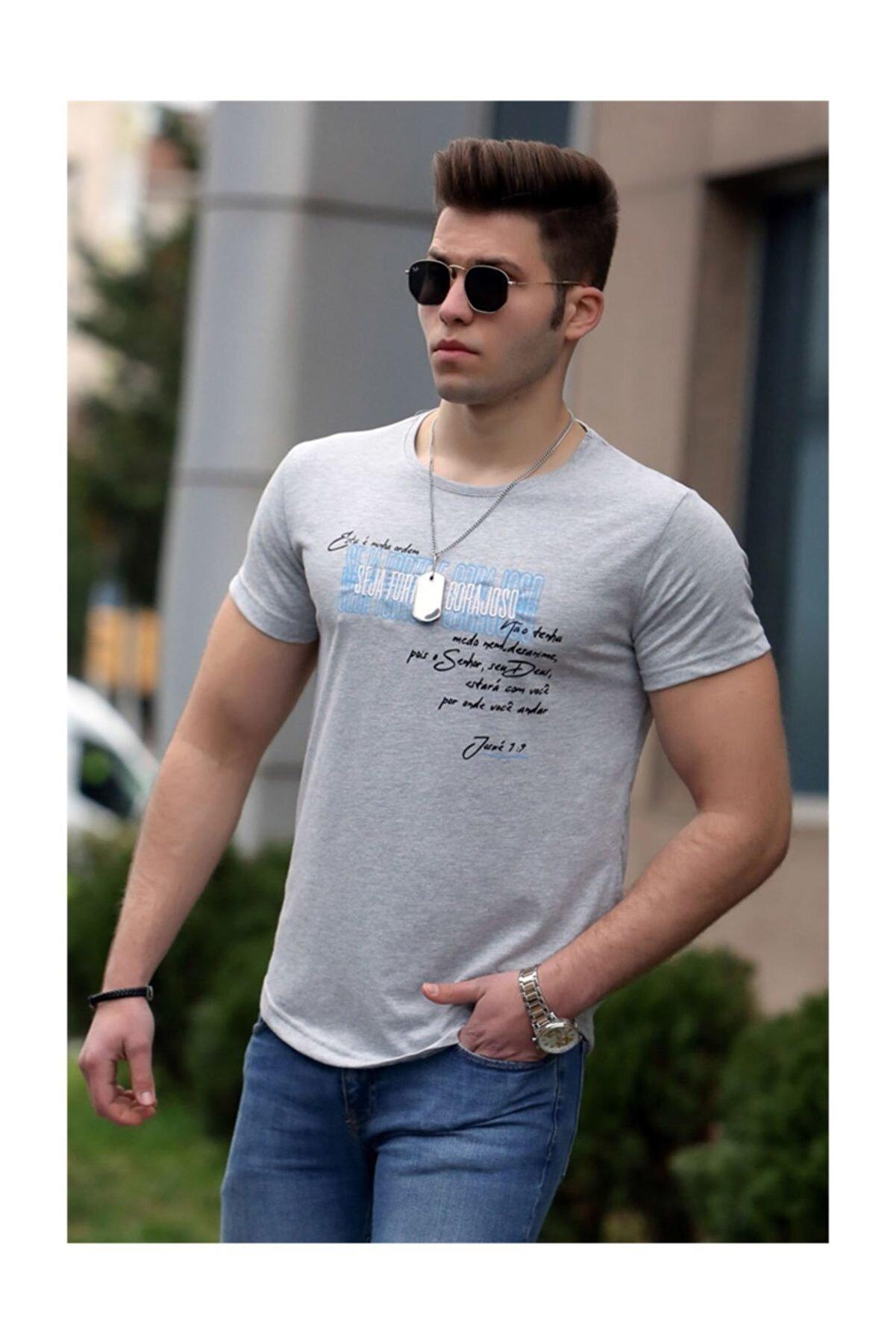 Madmext Baskılı Gri Erkek Tişört 4478