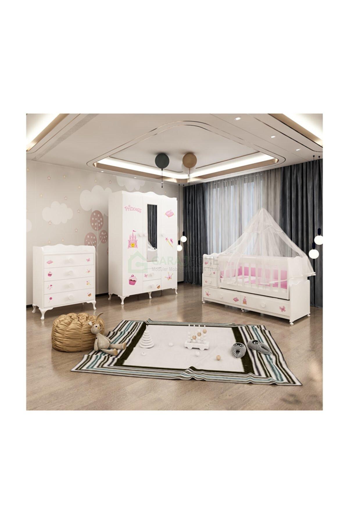 Garaj Home Kız Bebek Beyaz Melina Prenses Bebek Odası Takımı Yatak Ve Uyku Seti Kombini