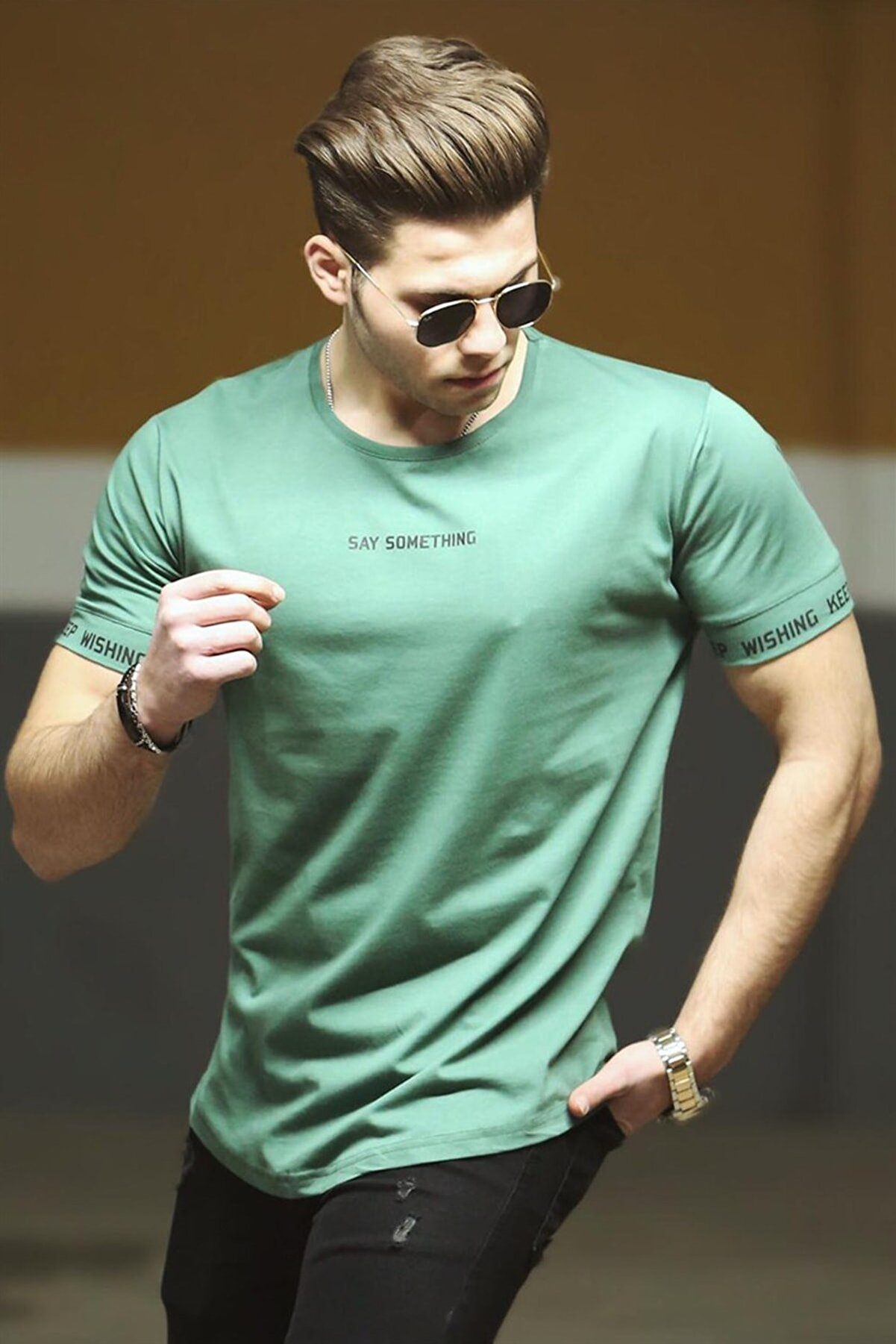 Madmext Yeşil Erkek Tişört 4461