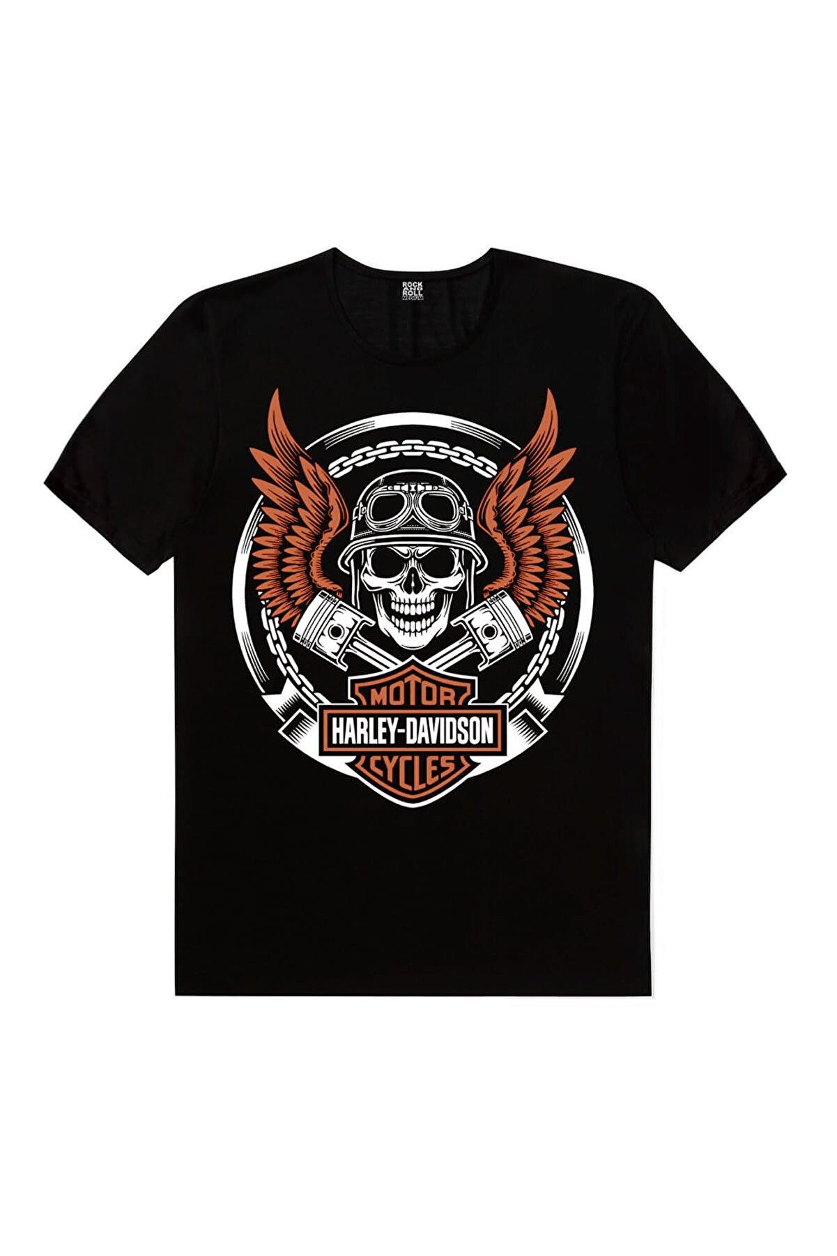 Rock & Roll Motorcu Kurukafa Siyah Kısa Kollu Tişört