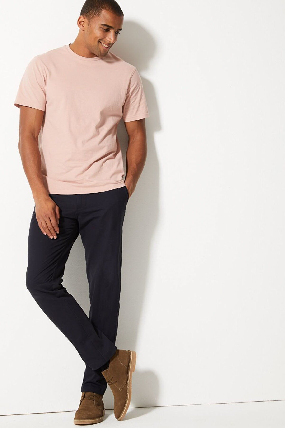 Marks & Spencer Erkek Navy Saf Pamuklu Tapered Fit Chino Pantolon T17006373T