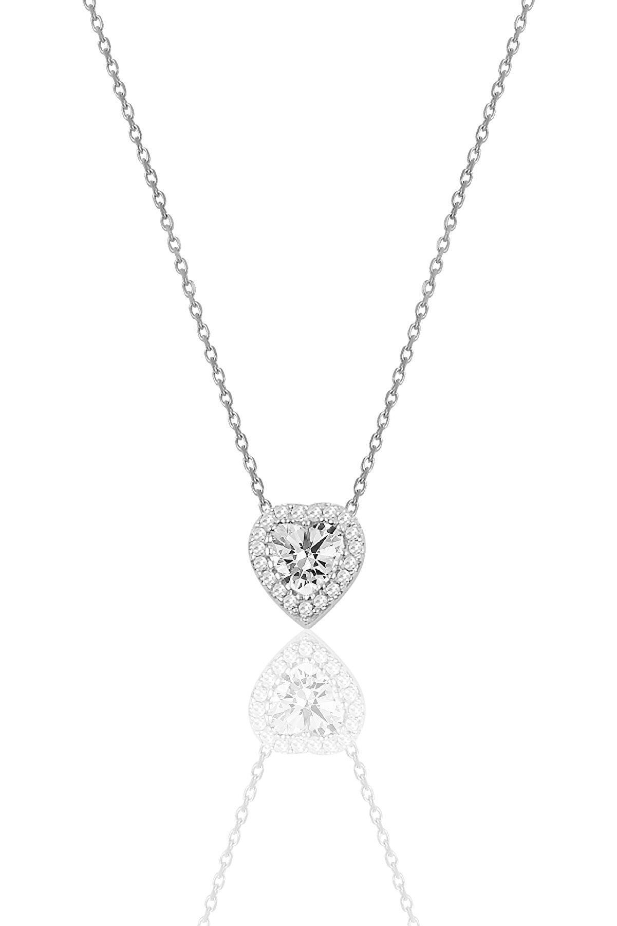 Söğütlü Silver Gümüş Pırlanta Montürlü Kalp Modeli Kolye