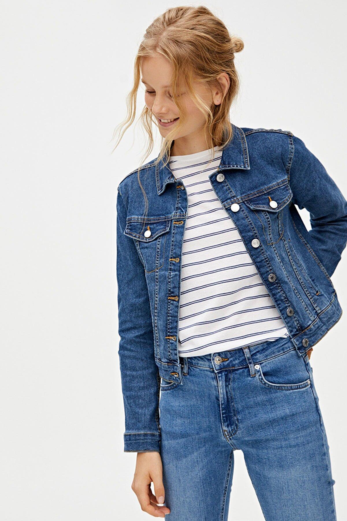 Pull & Bear Kadın Koyu Mavi Özel Dikim Basic Denim Ceket