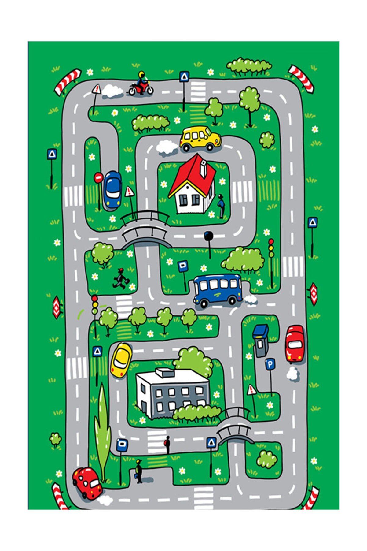 fenomen halı Trafik Oyun Halısı Erkek Çocuk Odası Tasarım Halı