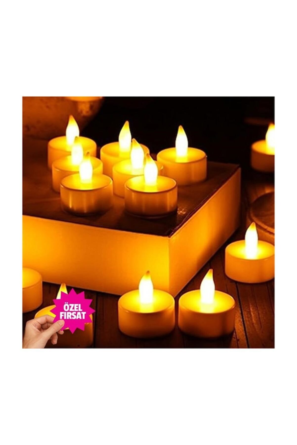 Azebu 12'li Led Tealight Sarı Işık Mum
