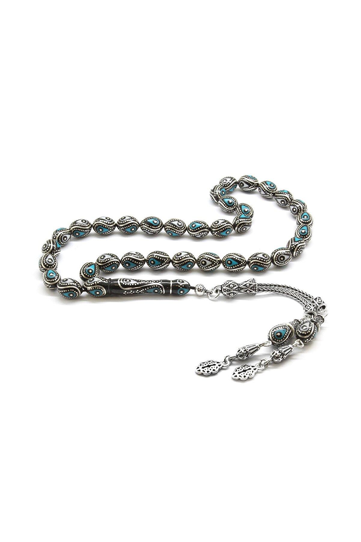 Tesbihane 925 Ayar Gümüş Püsküllü Gümüş-Firuze-Mine İşlemeli Arpa Kesim Erzurum Oltu Taşı Tesbih 101001820