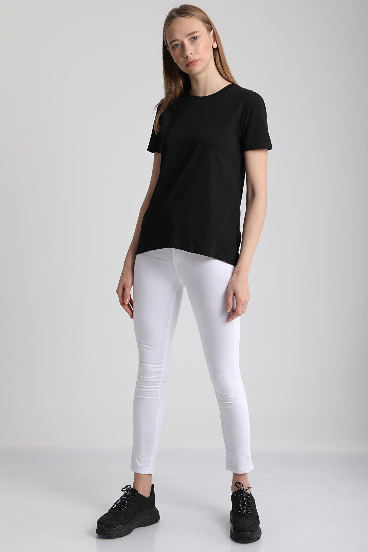 MD trend Kadın Siyah Bisiklet Yaka Kısa Kol Pamuklu T-Shirt Mdt3091