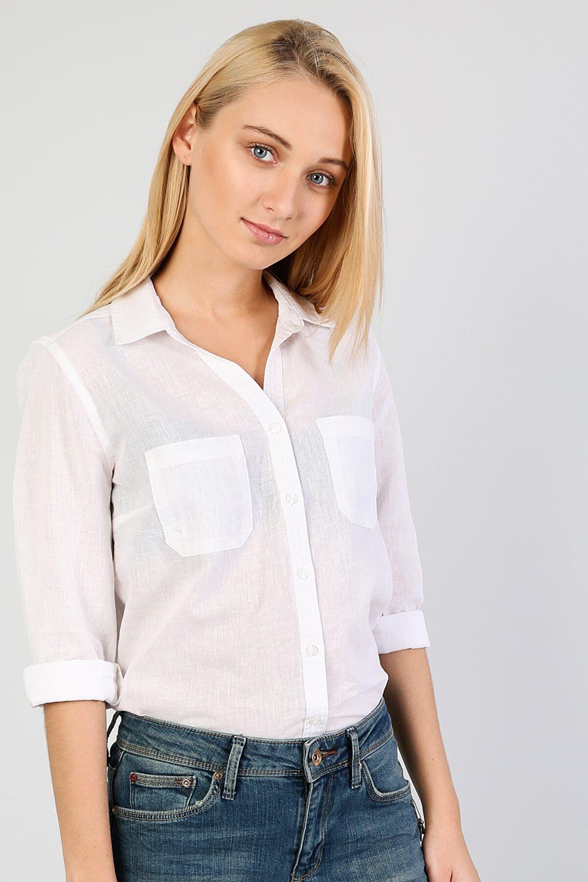 Colin's KADIN Regular Fit Shirt Neck Kadın Beyaz Uzun Kol Gömlek CL1042550