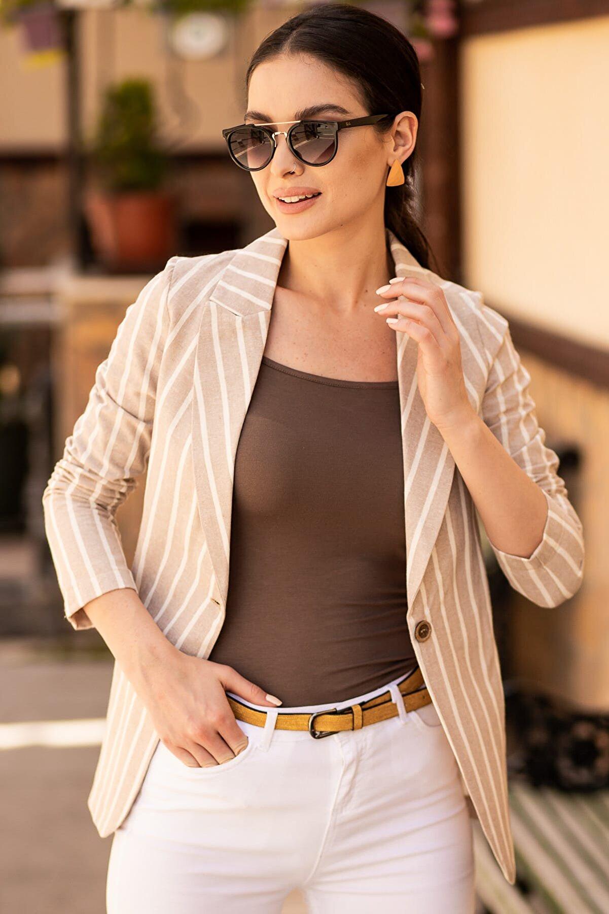 armonika Kadın Bej Keten Tek Düğmeli Kalın Çizgili Ceket ARM-19Y001079