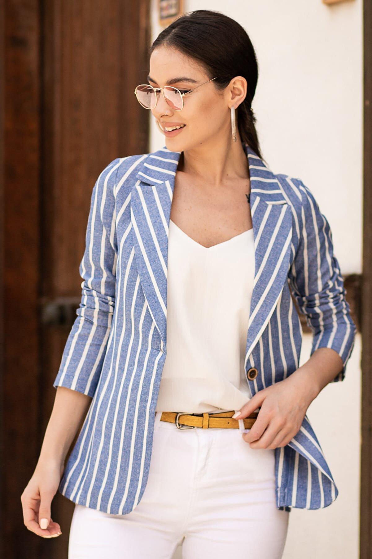 armonika Kadın Mavi Keten Tek Düğmeli Kalın Çizgili Ceket ARM-19Y001079
