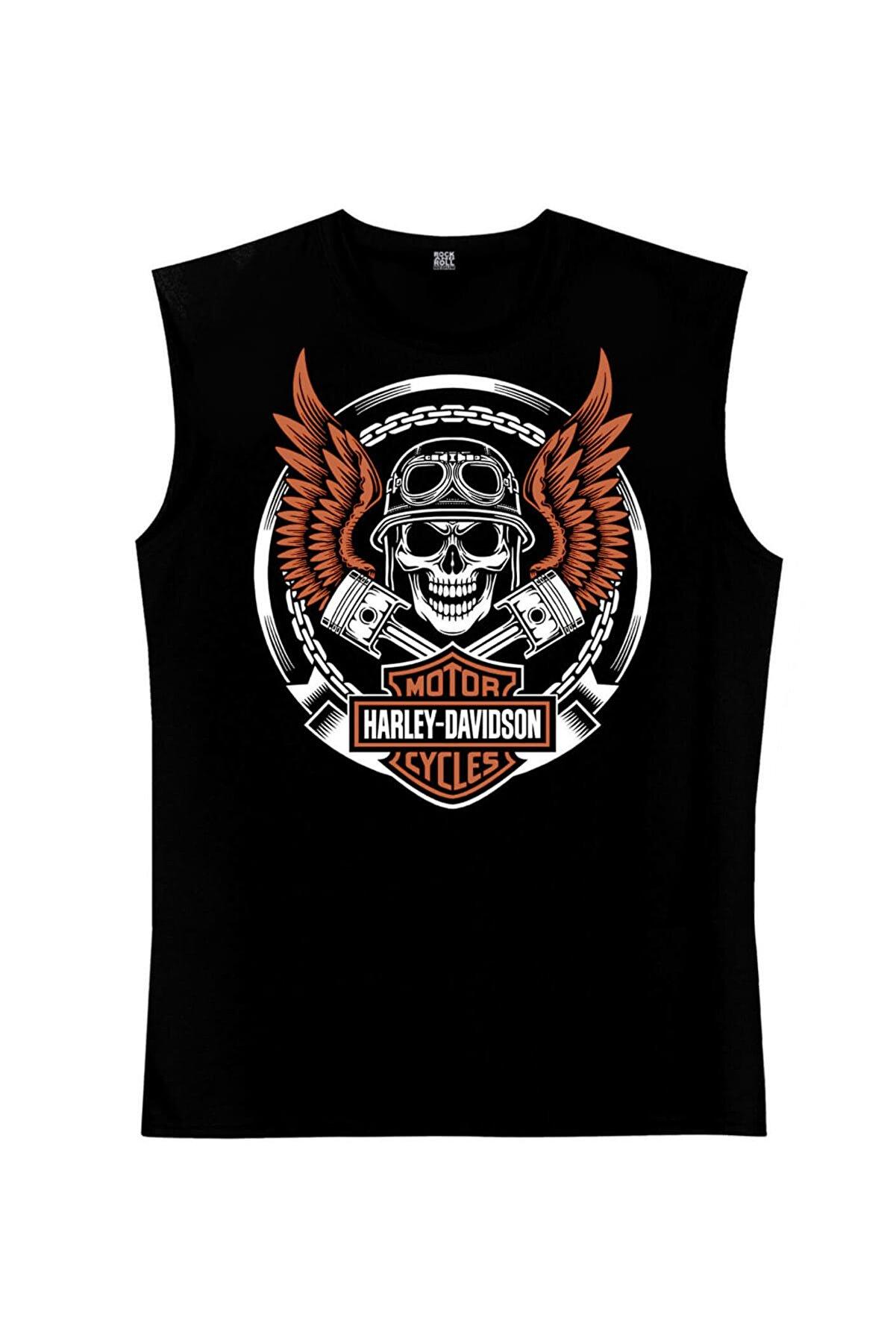 Rock & Roll Motorcu Kurukafa Siyah Kesik Kol   Kolsuz Tişört   Atlet