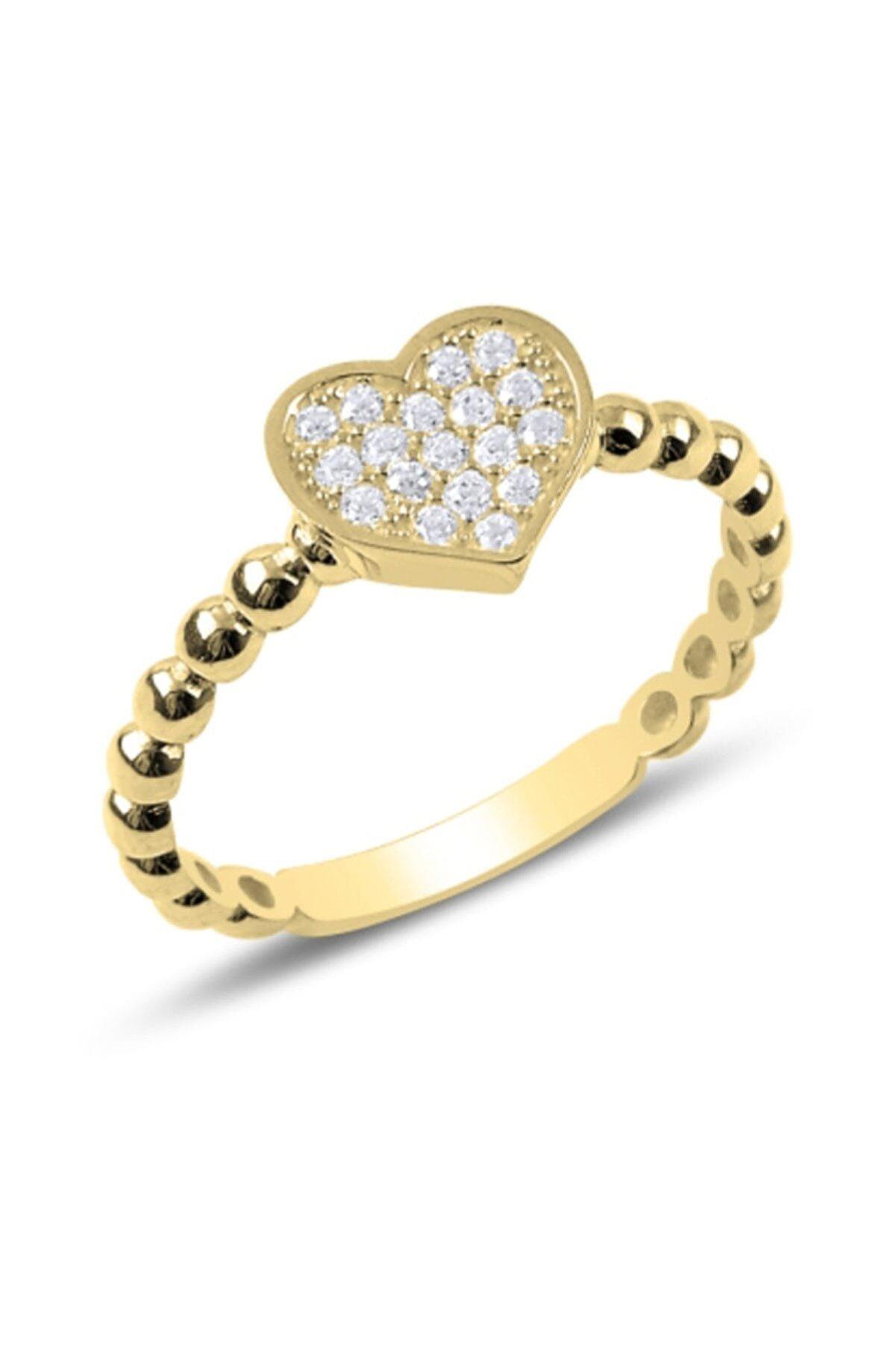 Tevuli Kadın Gümüş 925 Ayar Zirkon Taşlı Kalp Yüzük R88412