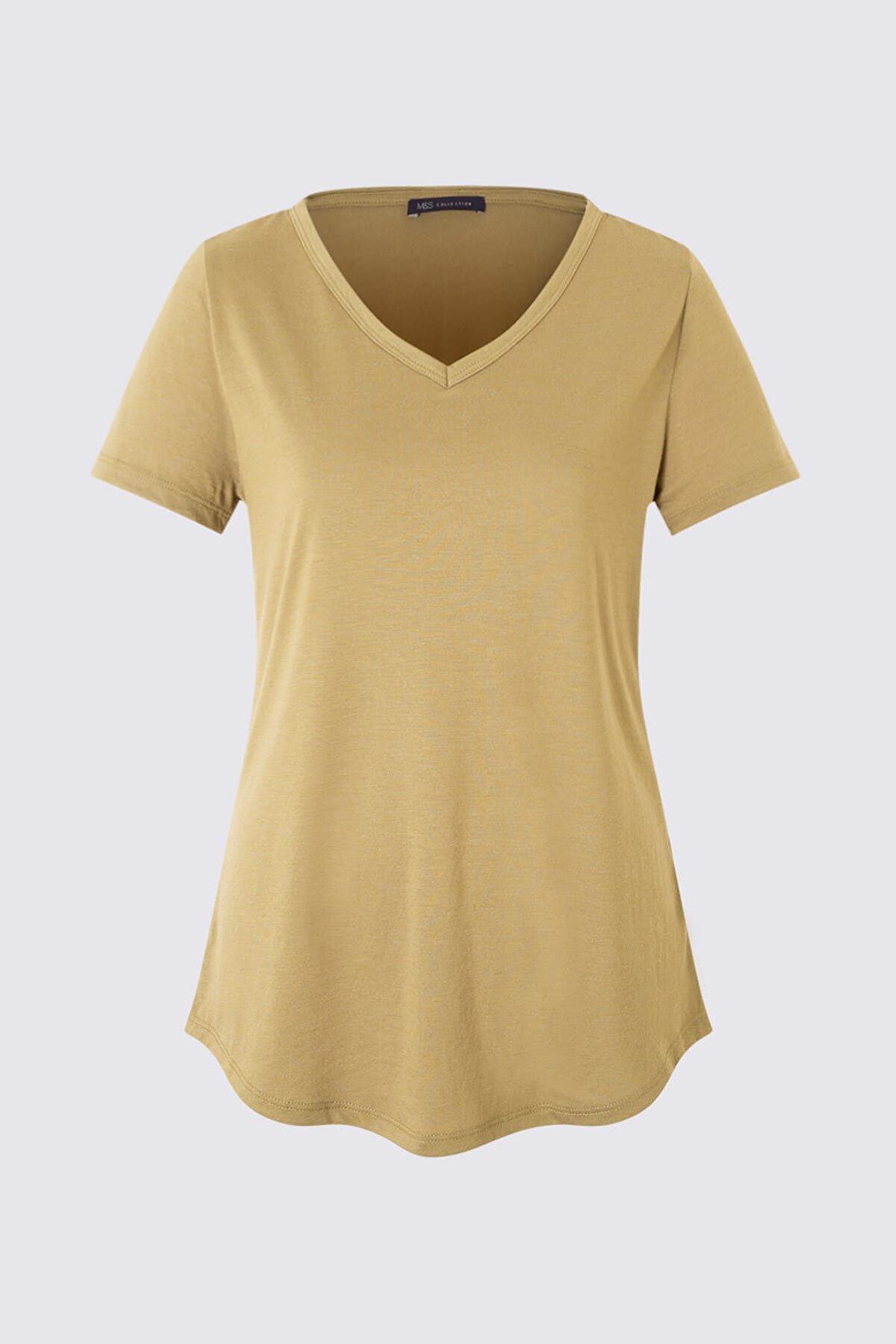 Marks & Spencer Kadın Yeşil Kısa Kollu V Yaka T-shirt T41001270H