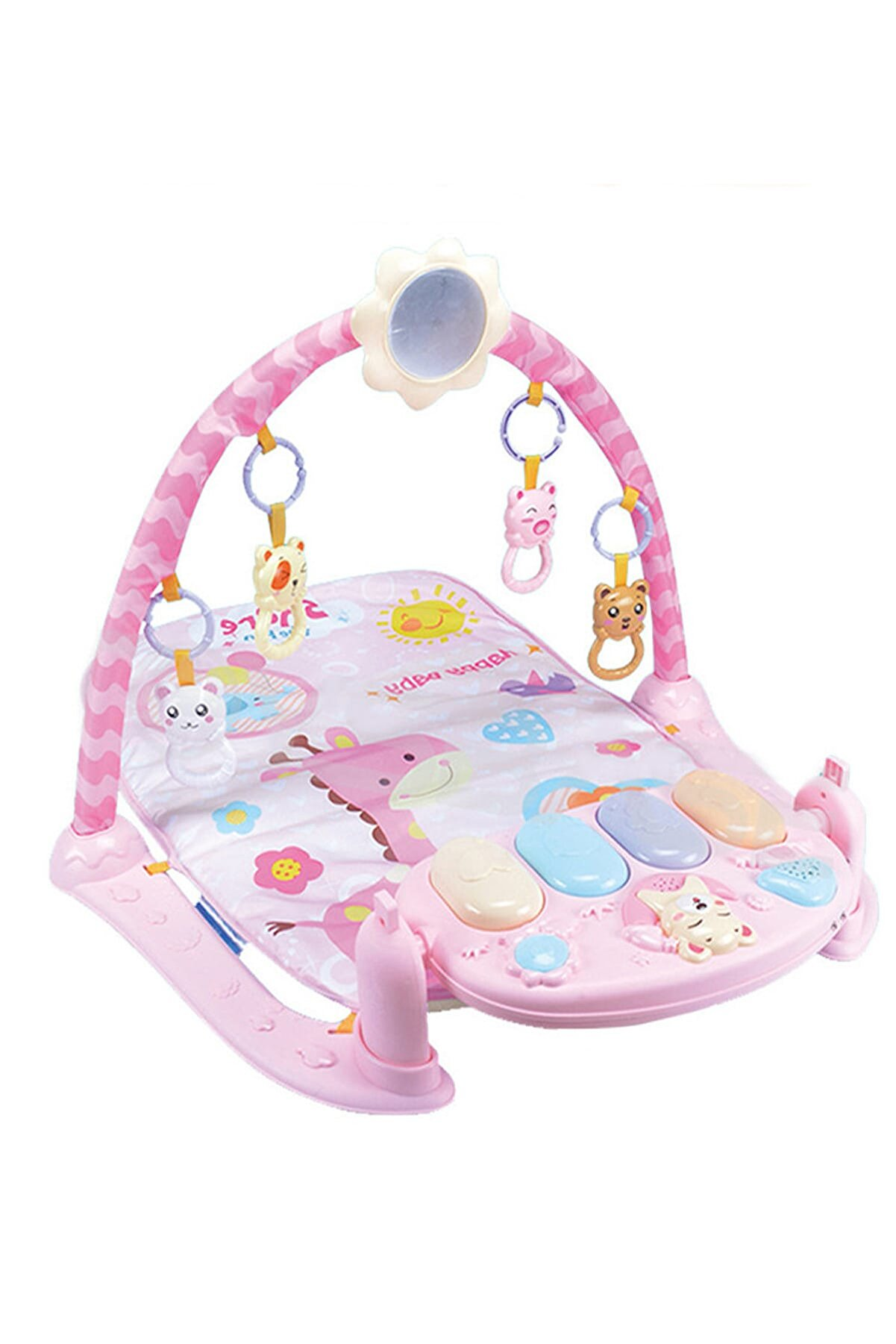 BabyLondy Viva Büyük Boy Projeksiyonlu ve Piyanolu Bebek Oyun Halısı Eğitici Oyuncak Işıklı Pembe