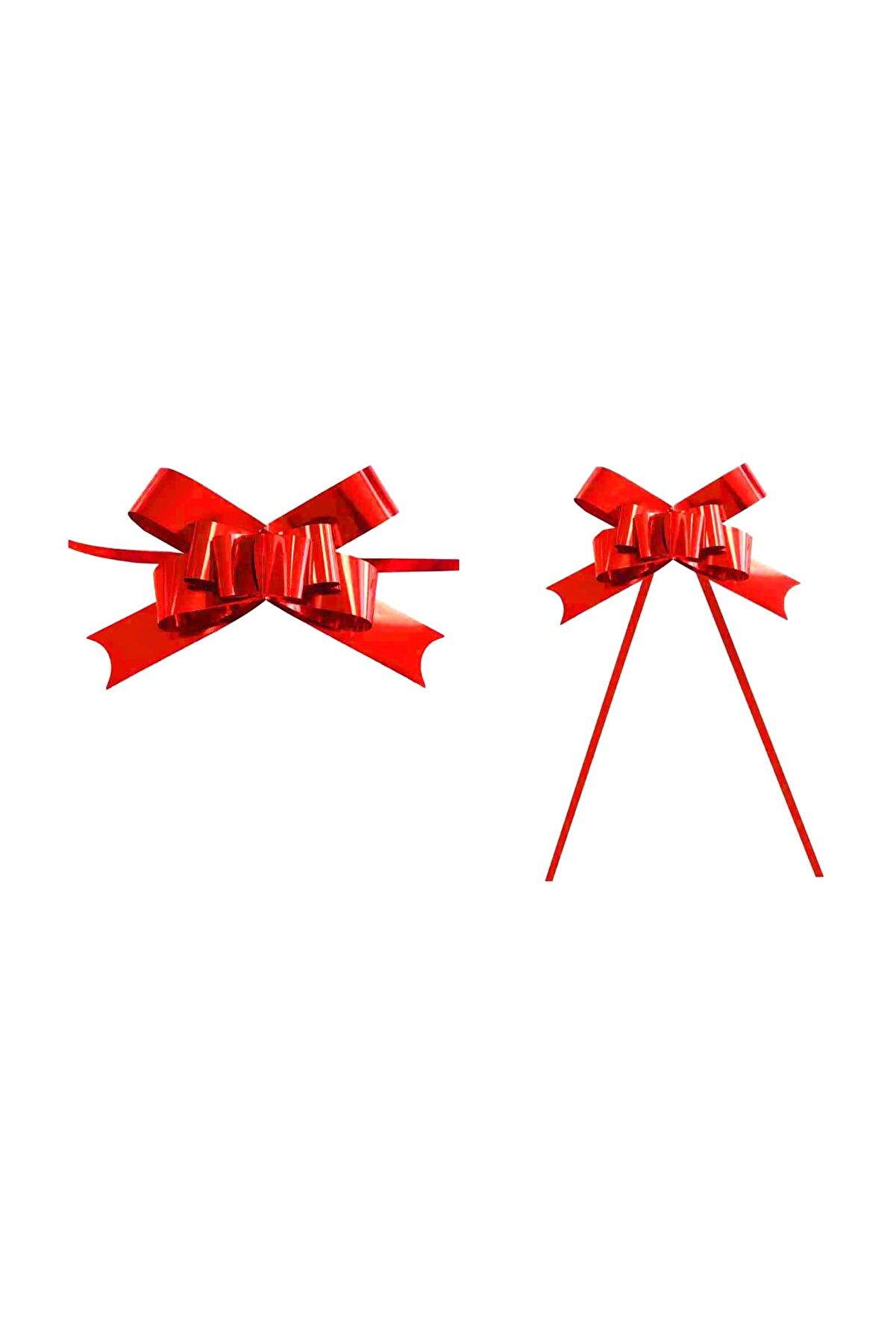 TT Tahtakale Toptancıları Rafyadan Metalize Çekmeli Hazır Fiyonk 2 CM (25 Adet)  Kırmızı