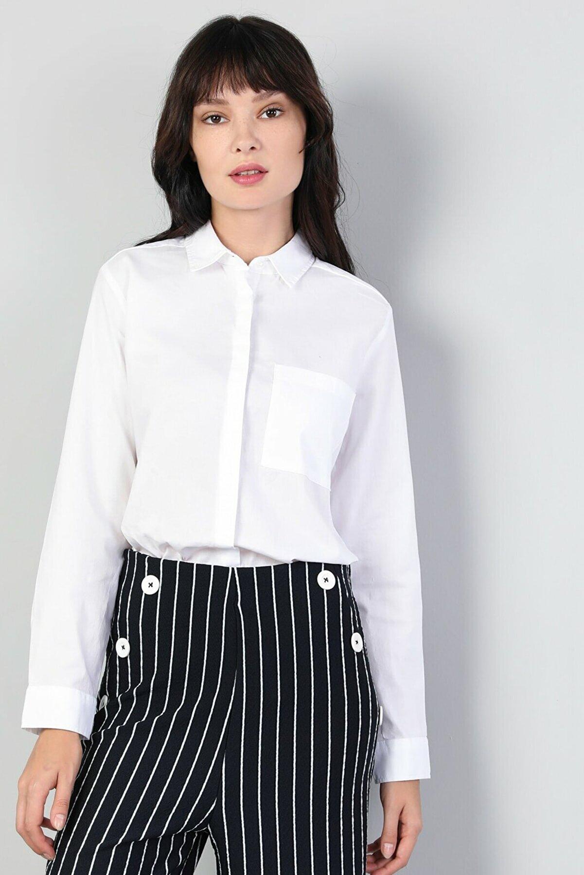 Colin's KADIN Regular Fit Shirt Neck Kadın Beyaz Uzun Kol Gömlek CL1045102