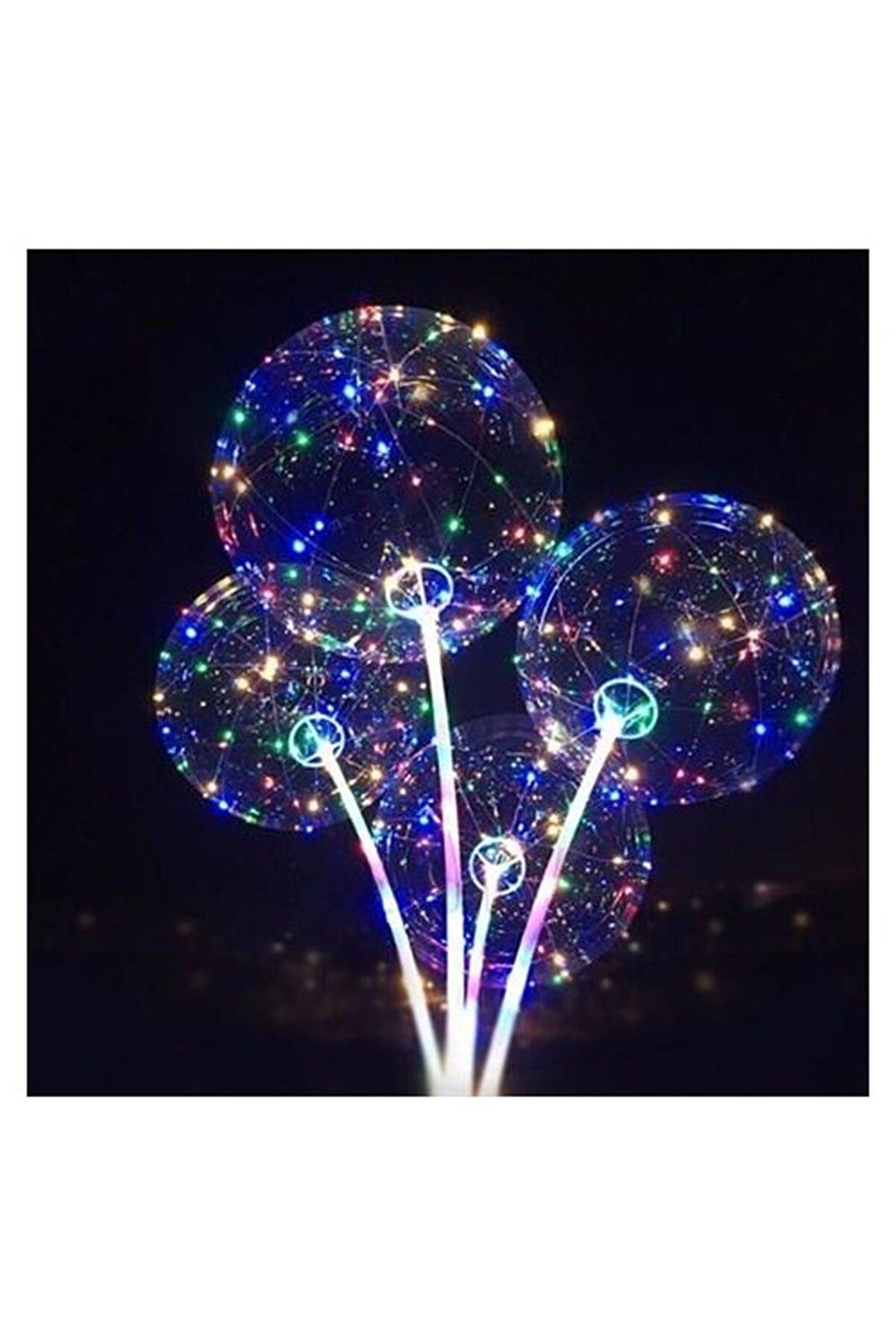 Parti Dolabı 1 Adet Ledli Işıklı Balon, Düğmeli Çubuklu Balon Set