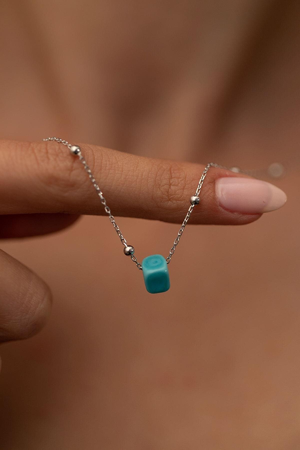 İzla Design Kadın Mavi Boncuk Model Toplu Gümüş İtalyan Kolye PKT-TLYSLVR0146