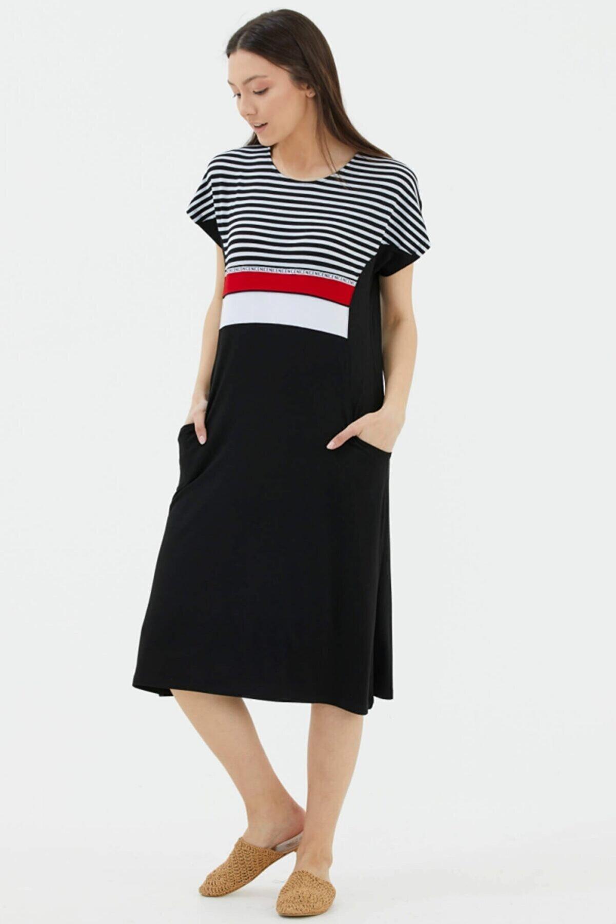 Sementa Kadın Siyah Çizgi Kombinli Cepli Elbise