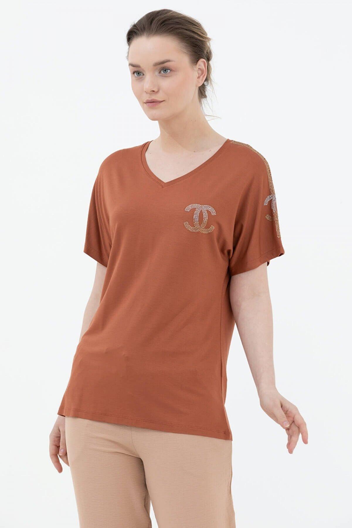 Sementa Kadın Kahverengi Yarasa Kol V Yaka Bluz