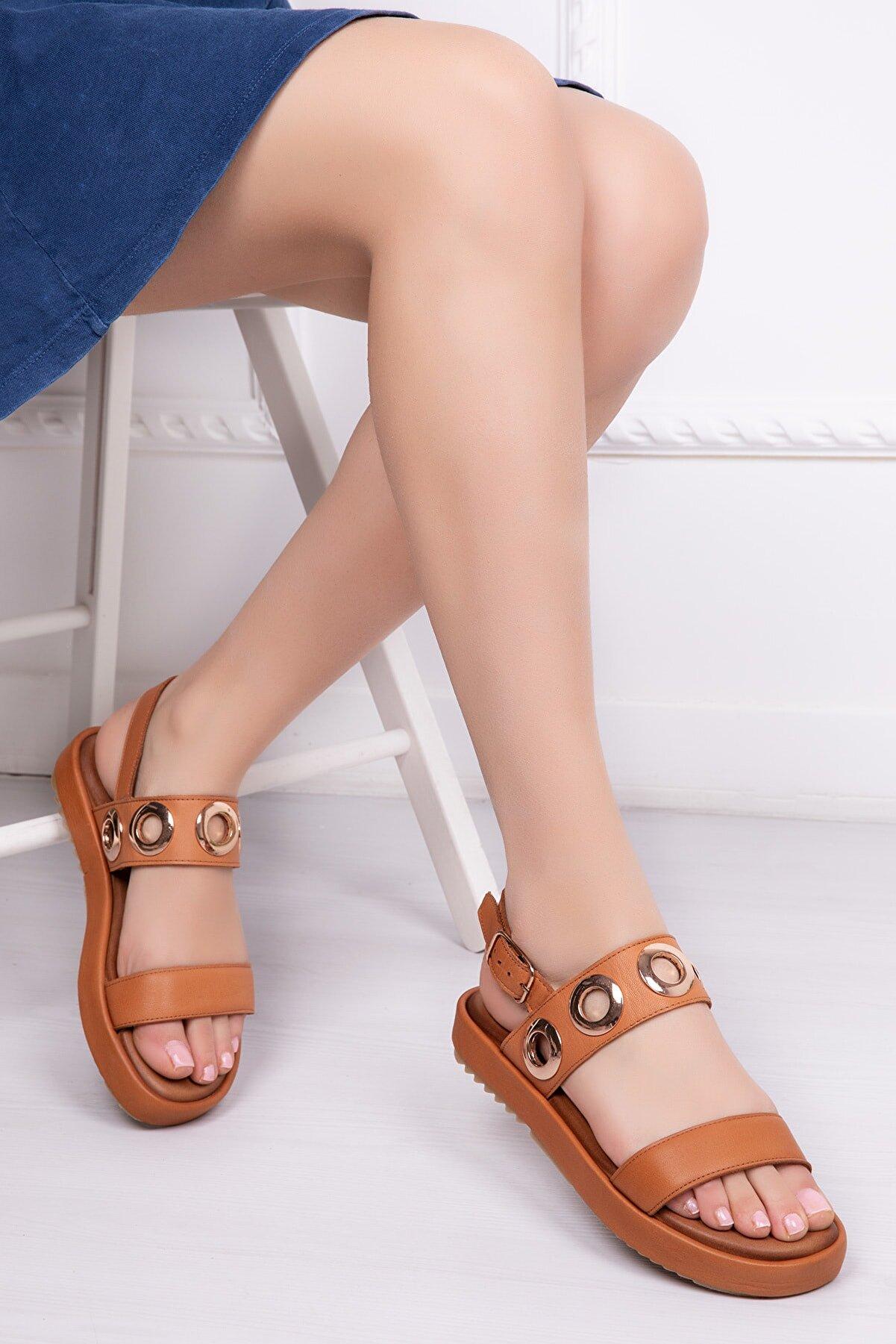 Deripabuc Modd Hakiki Deri Taba Kadın Deri Sandalet Dp53-9005