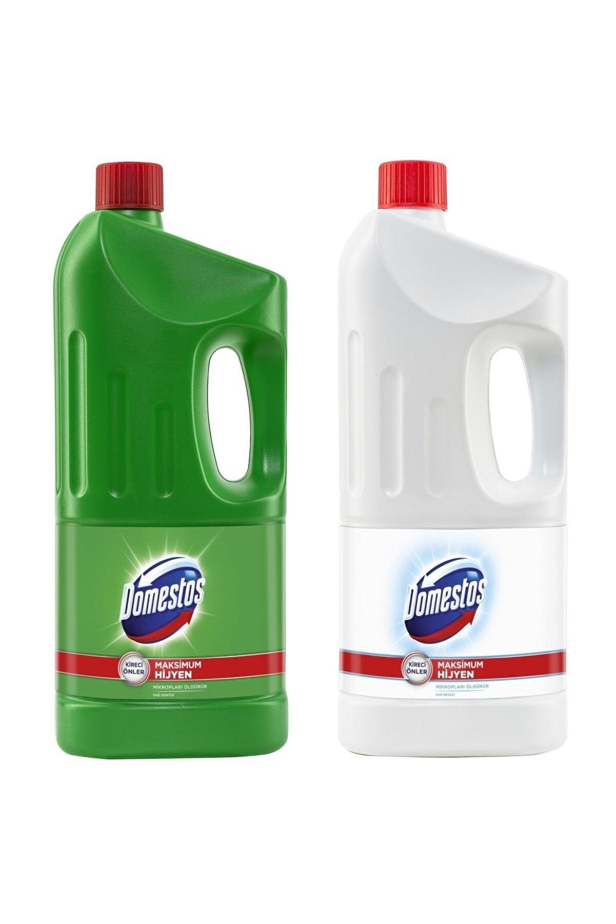 Domestos Çamaşır Suyu Dağ Esintisi 2 Litre +  Kar Beyaz 2 Litre