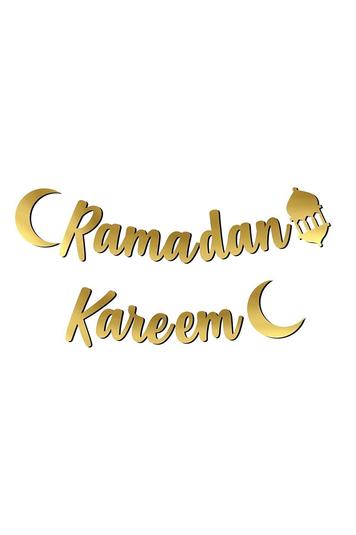 Huzur Party Store Ramadan Kareem Yazılı Kaligrafi Banner Gold Renkli 200x20 Cm Ramazan Bayramı Altın Renginde Süs