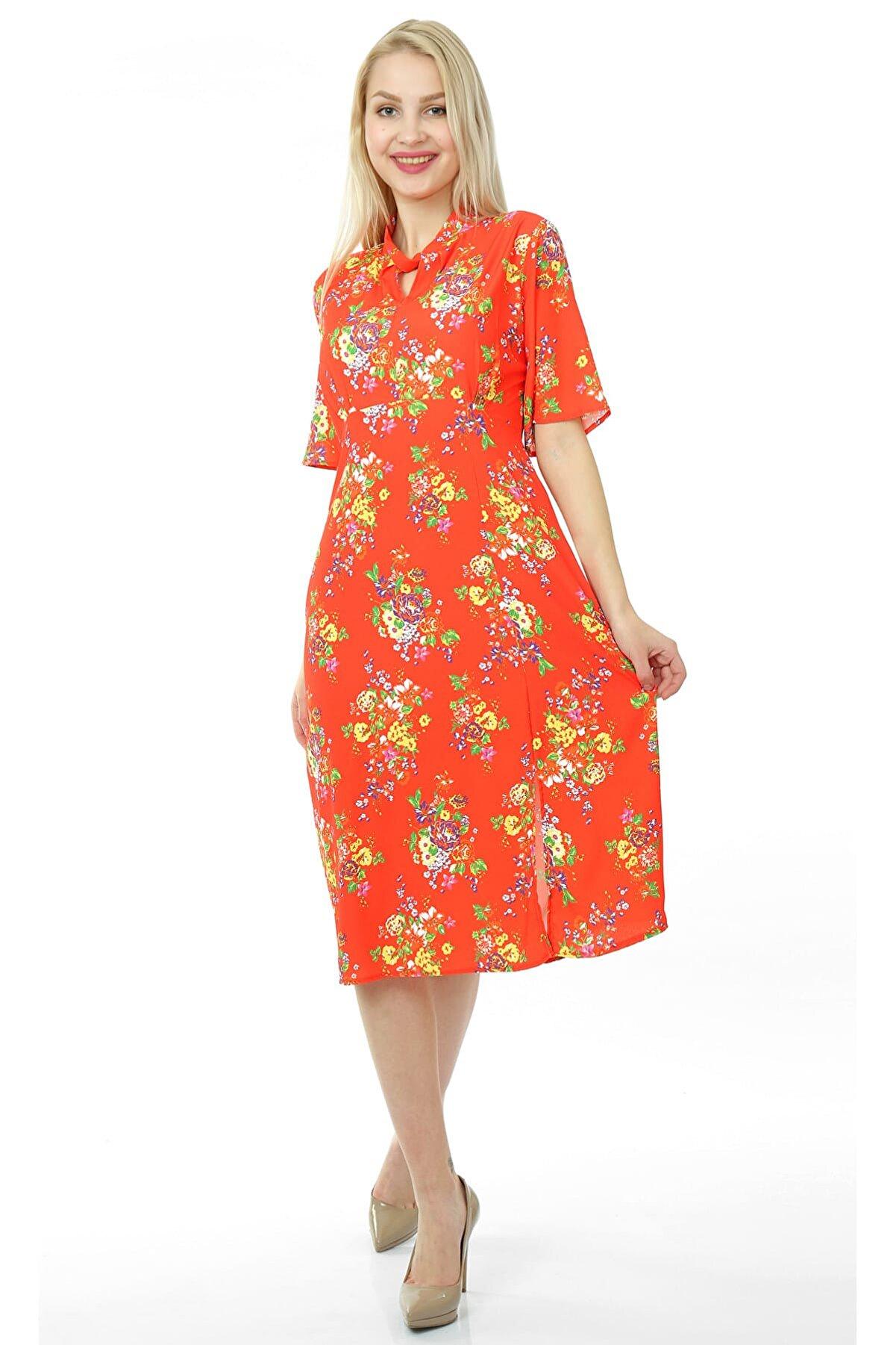 Pitti Kadın Nar Emprime Elbise 51070
