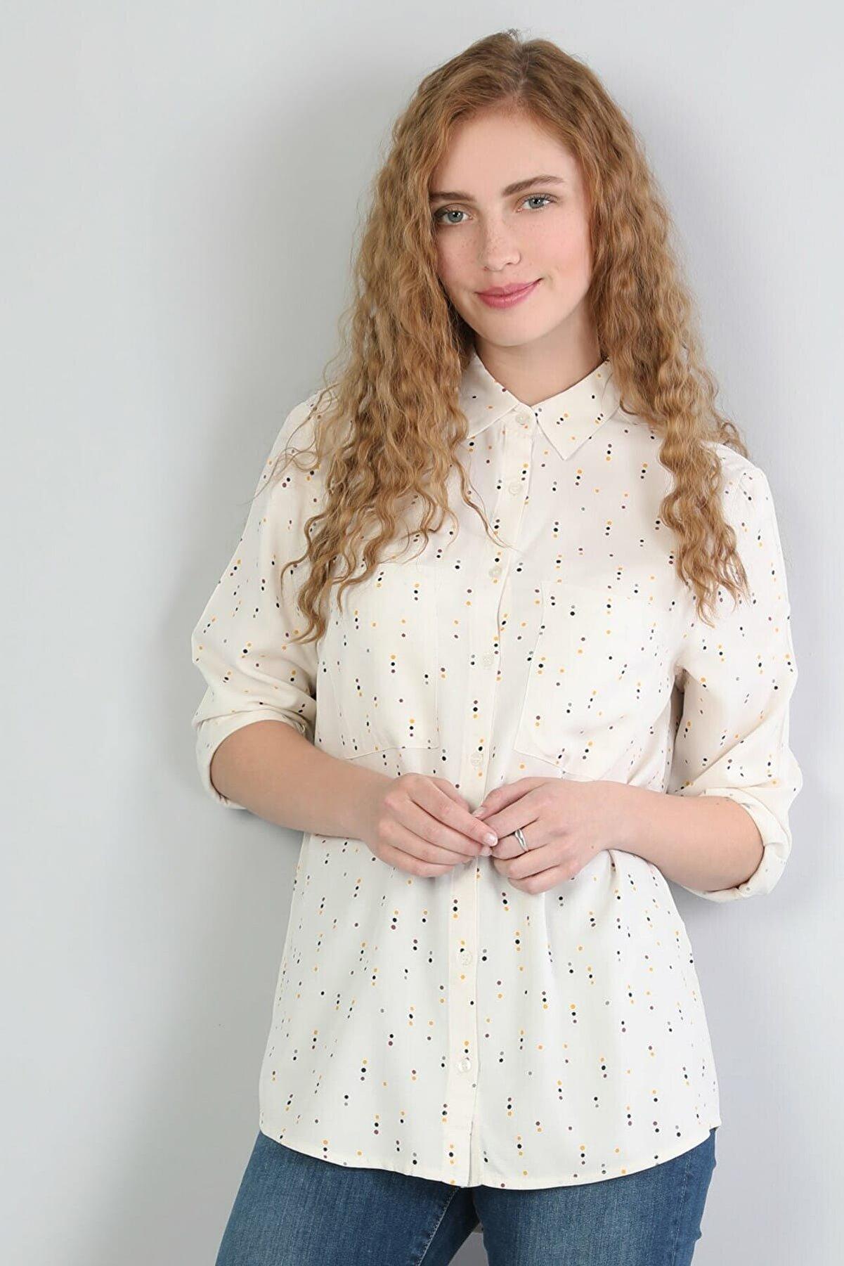 Colin's KADIN Regular Fit Shirt Neck Kadın Beyaz Uzun Kol Gömlek CL1044779